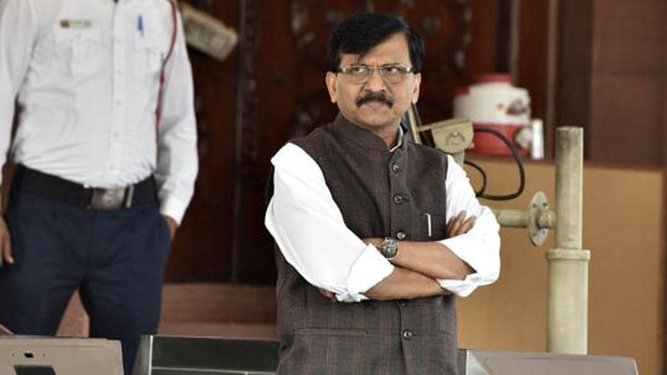 Shiv Sena leader Sanjay Raut after attending Parliament session n New Delhi.