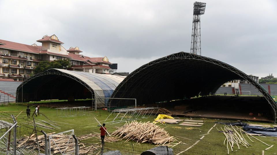 Workers making new Covid-19 care center at Nehru Stadium in Guwahati.