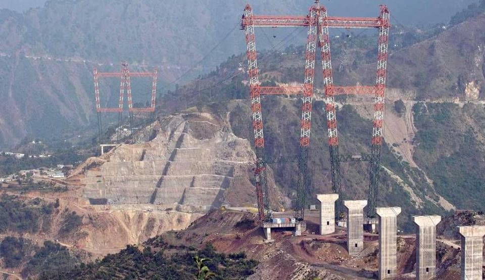 File photo of a general view of the site of the under-construction railway bridge on Chenab river in Jammu-Kashmir