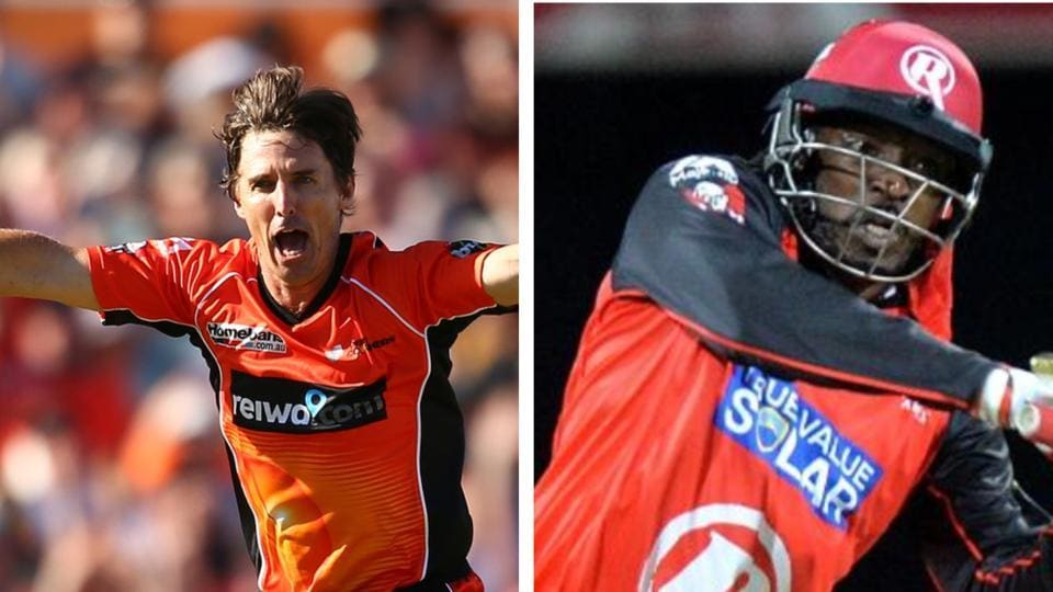File image of Brad Hogg and Chris Gayle.