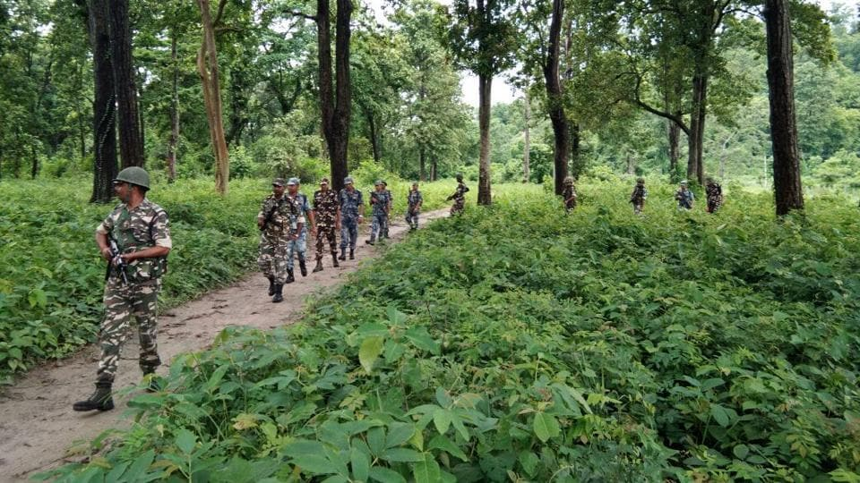 A patrol of the SSB  on  the Indo-Nepal border in Narkatiaganj subdivision of West Champaran district of Bihar.