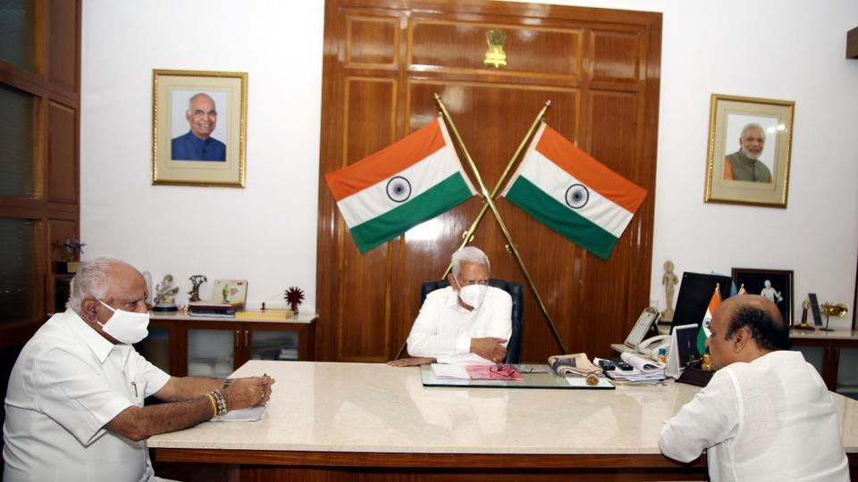 Karnataka chief minister BSYediyurappa meeting governor Vajubhai Vala onFriday.