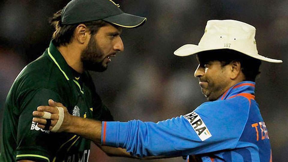 File photo of Shahid Afridi with Sachin Tendulkar.