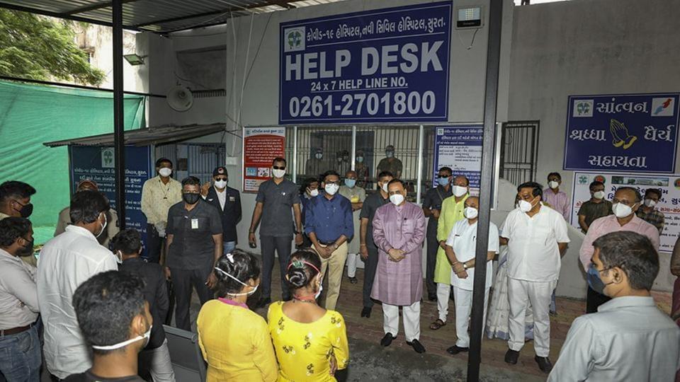 Gujarat CM Vijay Rupani visits Surat Civil Hospital, in Surat.