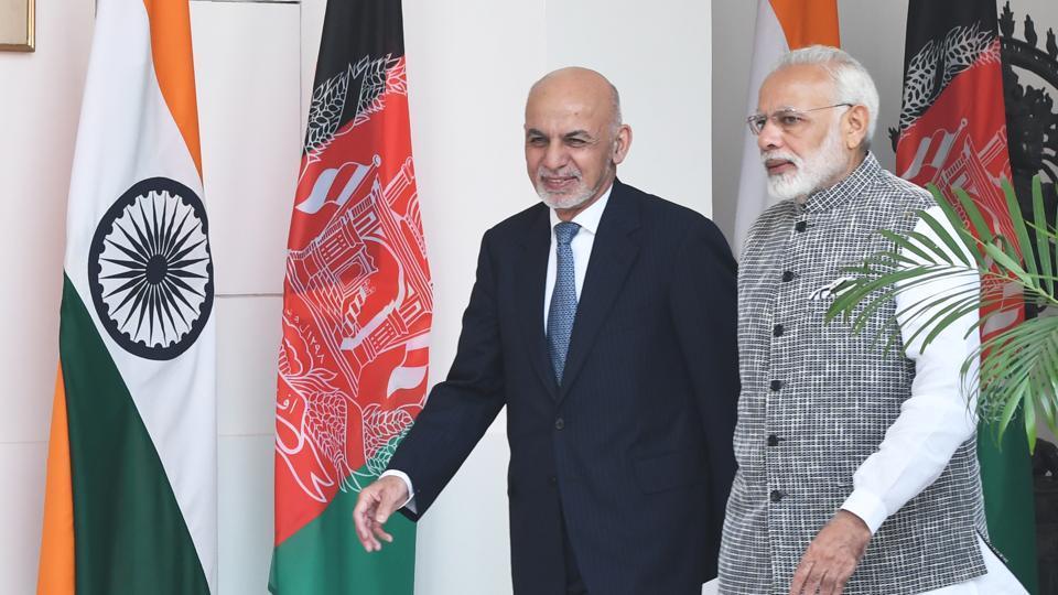 Prime Minister Narendra Modi with Afghanistan President Dr. Mohammad Ashraf Ghani at Hyderabad House in New Delhi.