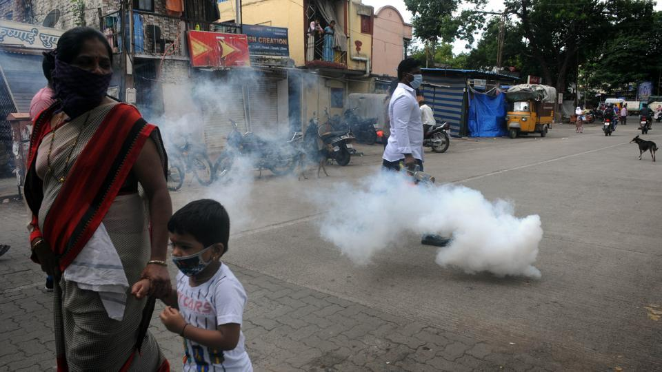 Spraying of disinfectants at Gokhlenagar by Shivsena supporters in Pune.
