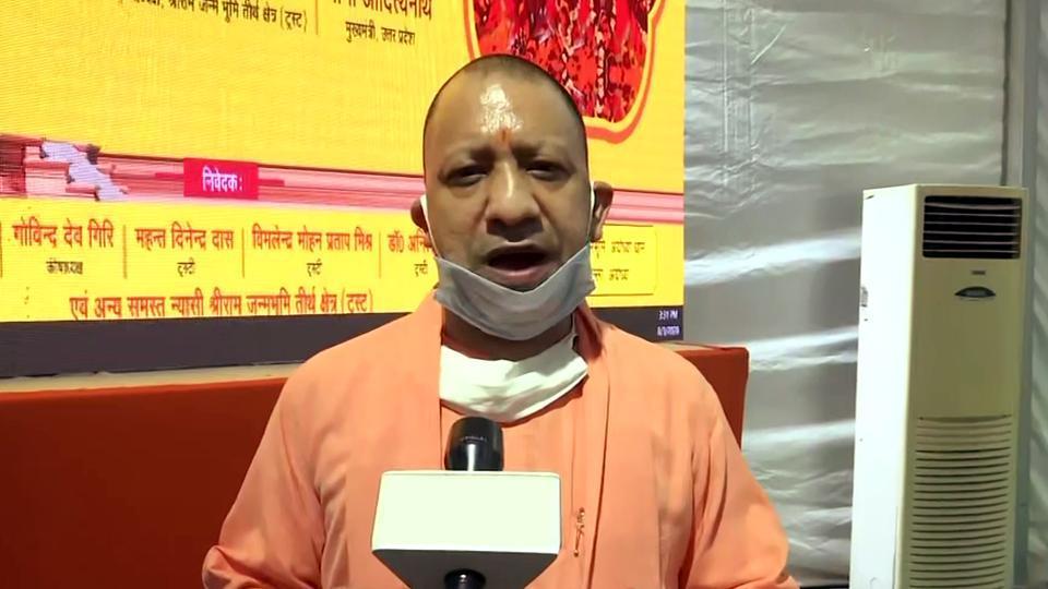 Uttar Pradesh Chief Minister Yogi Adityanath speaks to media during his visit to Hanuman Garhi temple, in Ayodhya on Monday.