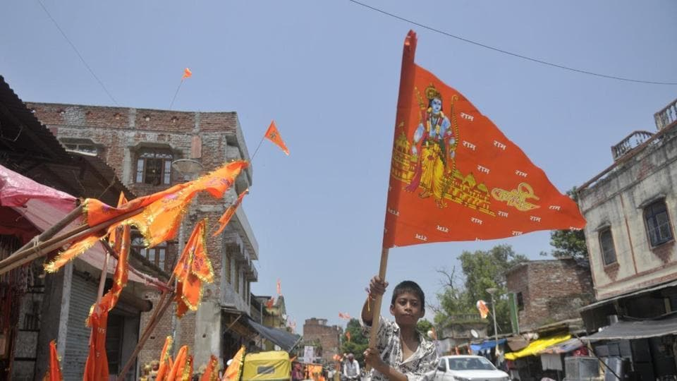A view of Ayodhya city on Tuesday, a day before the foundation stone laying ceremony of Ram temple.