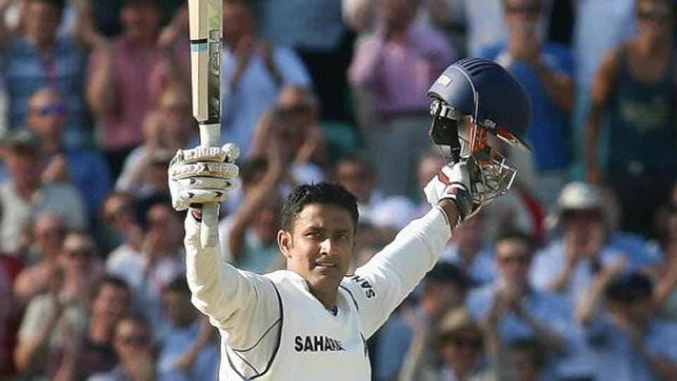 Anil Kumble celebrates his Test hundred. File image.