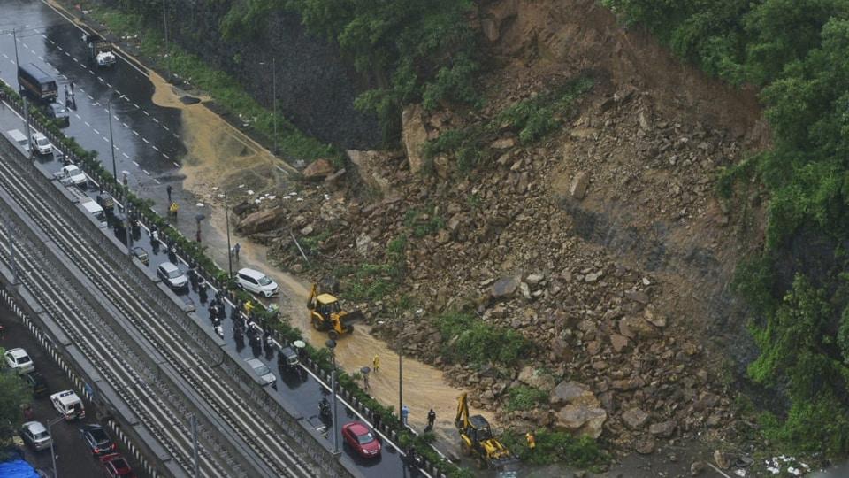 Landslide on WEH near Times of India building at Kandivali, Mumbai, Aug 4, 2020.