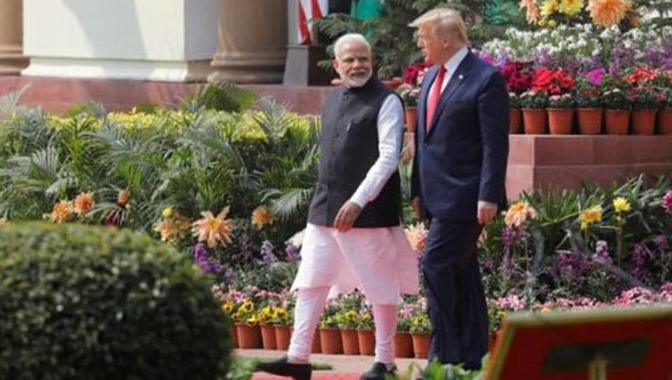 US President Donald Trump and India's Prime Minister Narendra Modi arrive for their joint news conference at Hyderabad House in New Delhi, India, February 25, 2020.