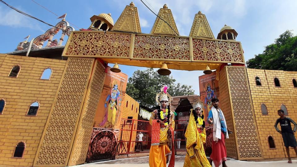 Artists in costume at Karsevak Puram ahead of the foundation stone laying ceremony of the Ram Janmabhumi temple in Ayodhya, Uttar Pradesh. (Photo by Deepak Gupta/Hindustan Times)