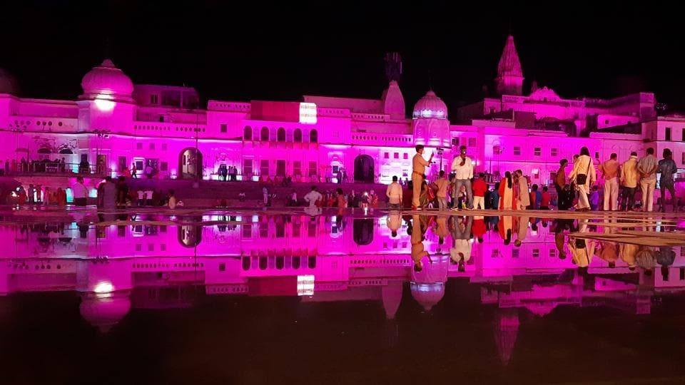 Ram Ki Paidi lit up in preparation for the foundation stone laying ceremony of the Ram Temple in Ayodhya, Uttar Pradesh.