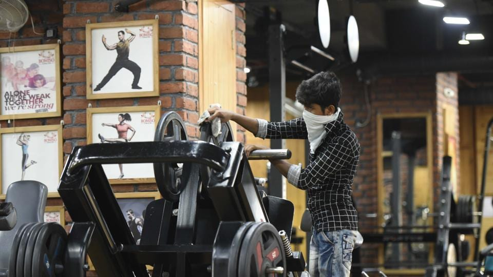 Preparations underway at a Gurugram gym on Tuesday, a day before fitness centres are allowed to reopen under 'Unlock 3'.