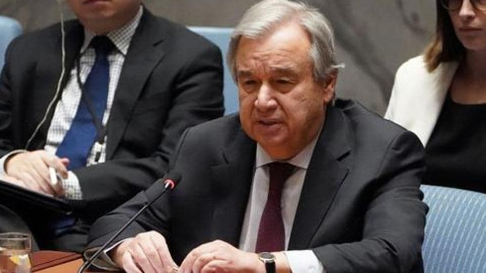 """United Nations secretary-general Antonio Guterres launched a UN """"Save our Future"""" campaign."""