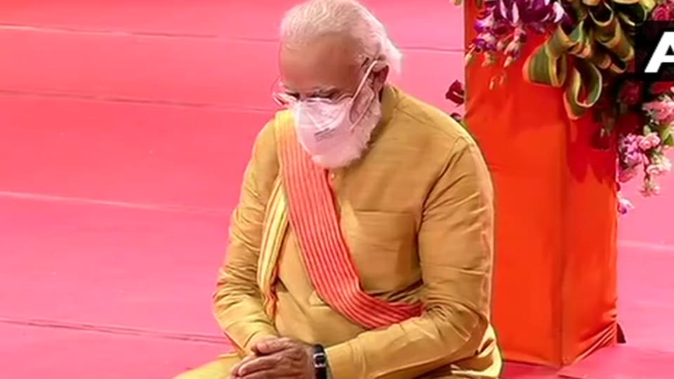 Prime Minister Narendra Modi performs 'Bhoomi Pujan' ceremony of Ram temple at Ram Janambhoomi site in Ayodhya, Uttar Pradesh.