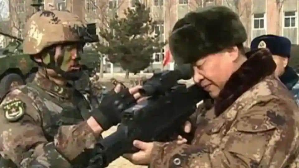 Xi Jinping visits a military base in China.