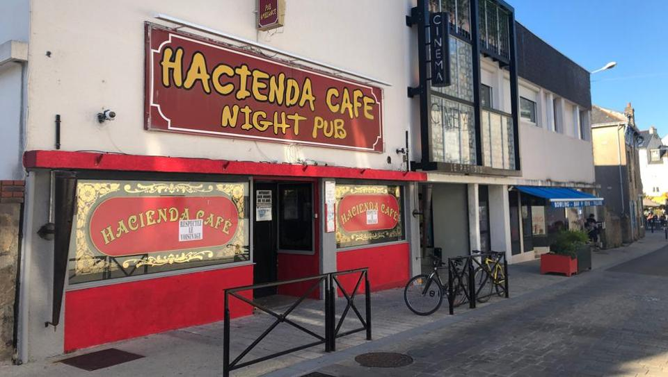 General view shows the entrance to Hacienda Cafe nightclub, after the emergence of a cluster of the coronavirus cases due to its illegal opening, in Quiberon, France, July 29, 2020.