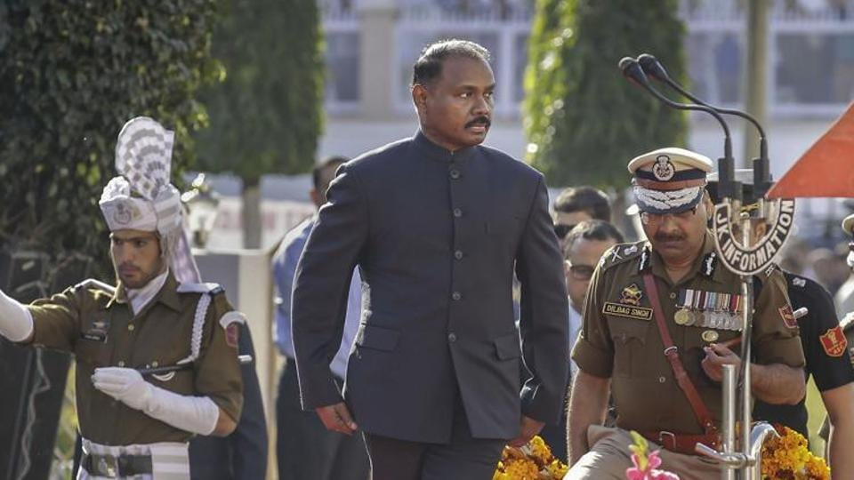 Jammu: First Lieutenant Governor of Jammu and Kashmir, Girish Chandra Murmu, inspects the guard of honour at Civil Secretariat following the annual 'Darbar Move', in Jammu, Monday, Nov. 4, 2019.