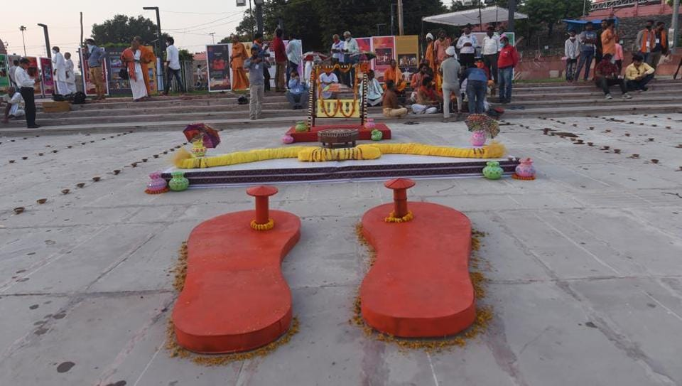 A large 'Khadau' (wooden slippers), bow and arrow, and palanquin put on display at Naya Ghat on the eve of the groundbreaking ceremony of the Ram Mandir in Ayodhya on Tuesday.