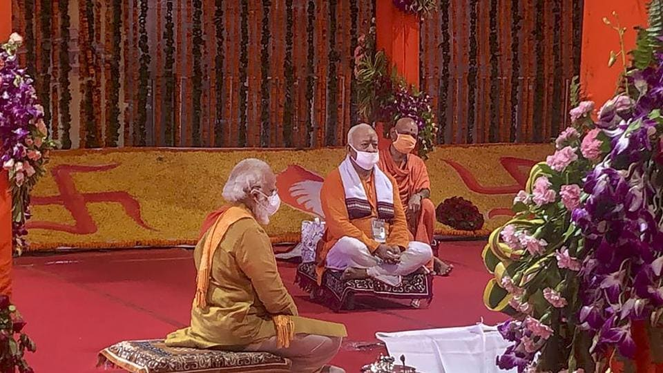 Prime Minister Narendra Modi along with RSS chief Mohan Bhagwat during the bhoomi poojan for the construction of Ram temple, in Ayodhya on Wednesday.