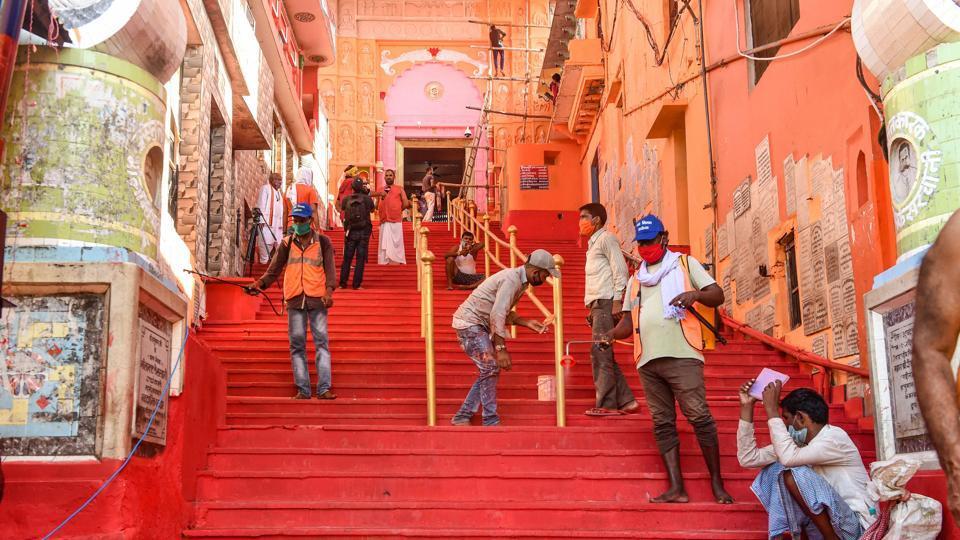 Famous Hanumangarhi Temple being sanitised ahead of the ground breaking ceremony of the Ram Mandir, in Ayodhya.