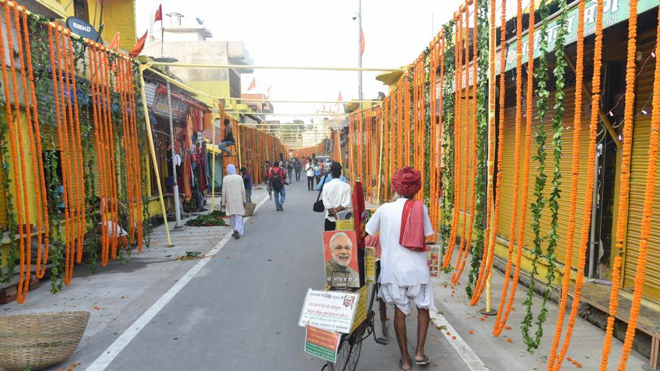 Streets decorated with flowers on the eve of the groundbreaking ceremony of the Ram Mandir at Hanumangarhi area in Ayodhya on Tuesday.