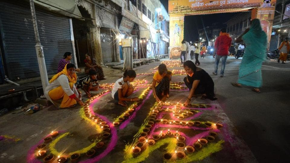 The city saw decorations and lighting of diyas apart from bursting of crackers to celebrate the occasion.