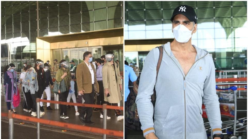 Akshay Kumar at the airport with family on his way to the UK.