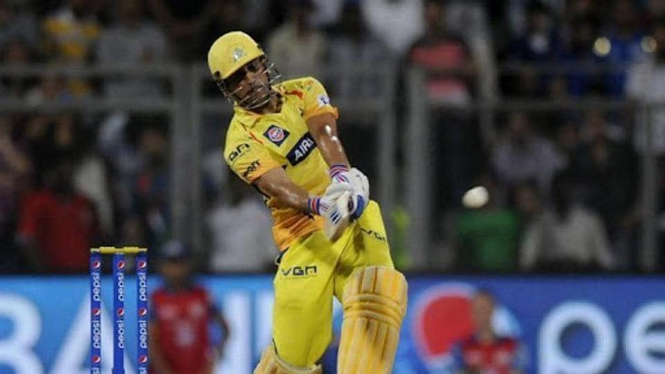 MS Dhoni playing an attacking shot during IPL