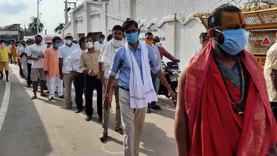 There was a long queue outside the Ram Janmabhoomi site on Thursday.