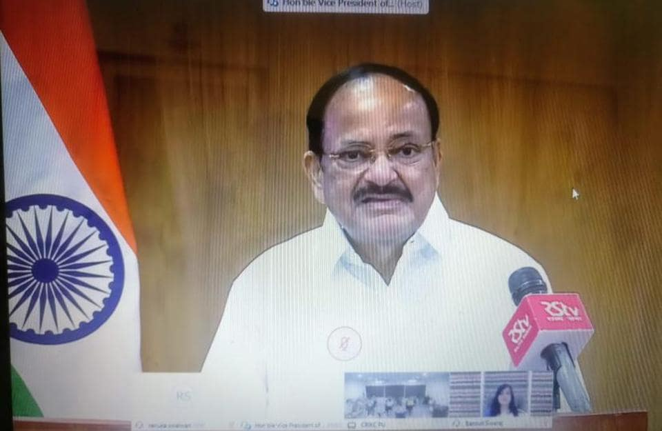 Vice-President Venkaiah Naidu, who is the chancellor of Panjab University, Chandigarh, delivering the first Sushma Swaraj Memorial Lecture via video-conference.