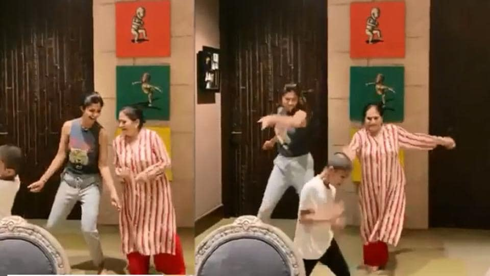 Shilpa Shetty dancing with her mother-in-law.