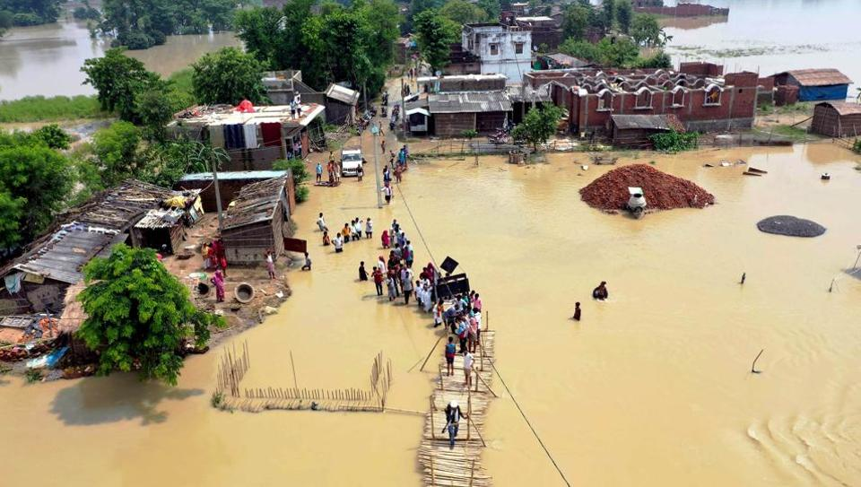 An aerial view of a flood-affected area in  Bihar's  Muzaffarpur district.