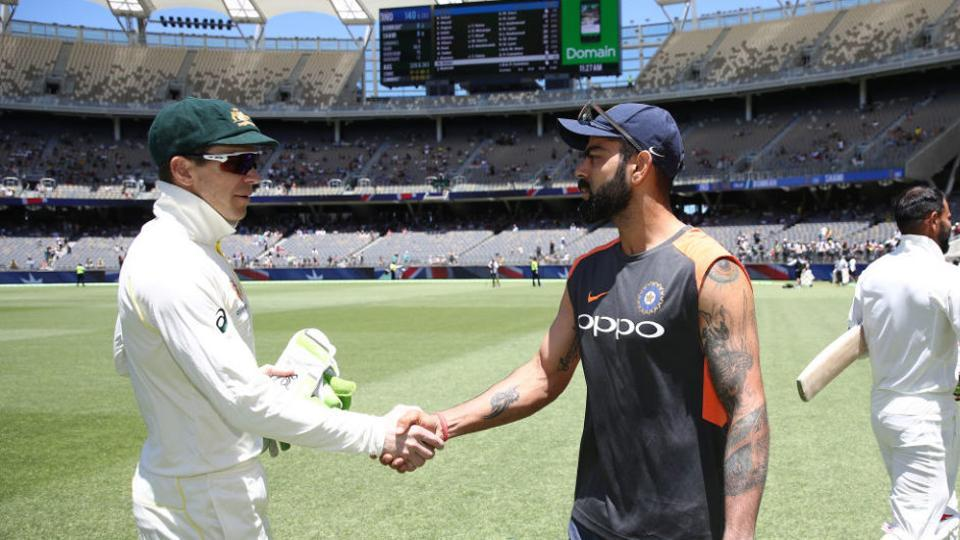 PERTH, AUSTRALIA - DECEMBER 18: Tim Paine of Australia shakes hands with Virat Kohli of India after Australia claimed victory during day five of the second match in the Test series between Australia and India at Perth Stadium on December 18, 2018 in Perth, Australia. (Photo by Ryan Pierse/Getty Images)