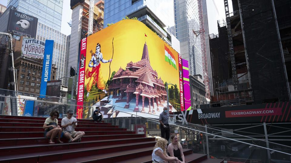 On Wednesday, New York City witnessed the largest high-definition digital display of Lord Ram and the proposed temple at Ayodhya on Broadway.