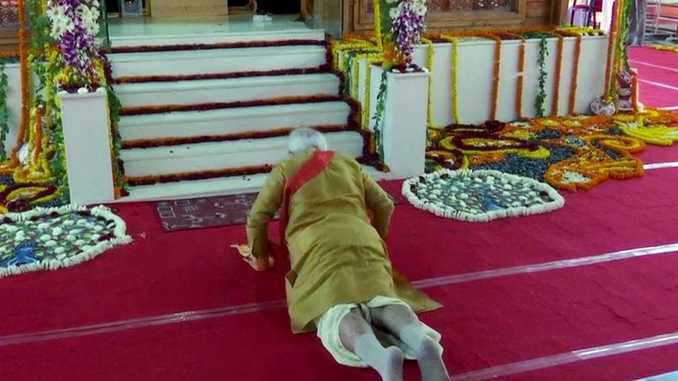 Prime Minister Narendra Modi offers prayers to Ram Lalla performing 'Sashtang pranam' (prostration) at Ram Janmabhoomi, in Ayodhya on Wednesday.