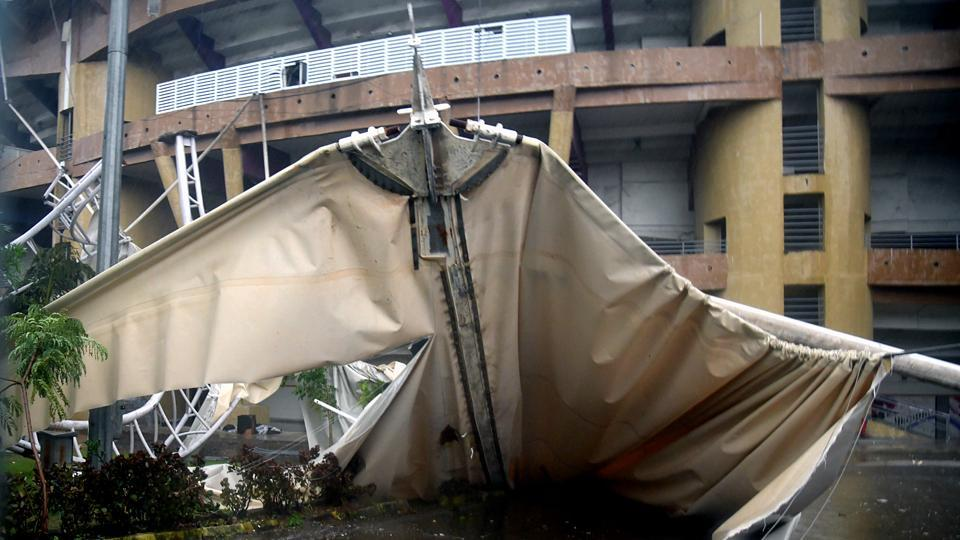 Roof top of DY Patil Stadium fall off due to heavy rains and winds at Nerul in Navi Mumbai.