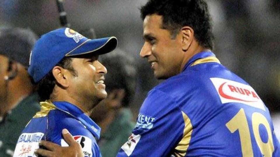 Mumbai Indians batsman Sachin Tendulkar and Rajasthan Royals captain Rahul Dravid