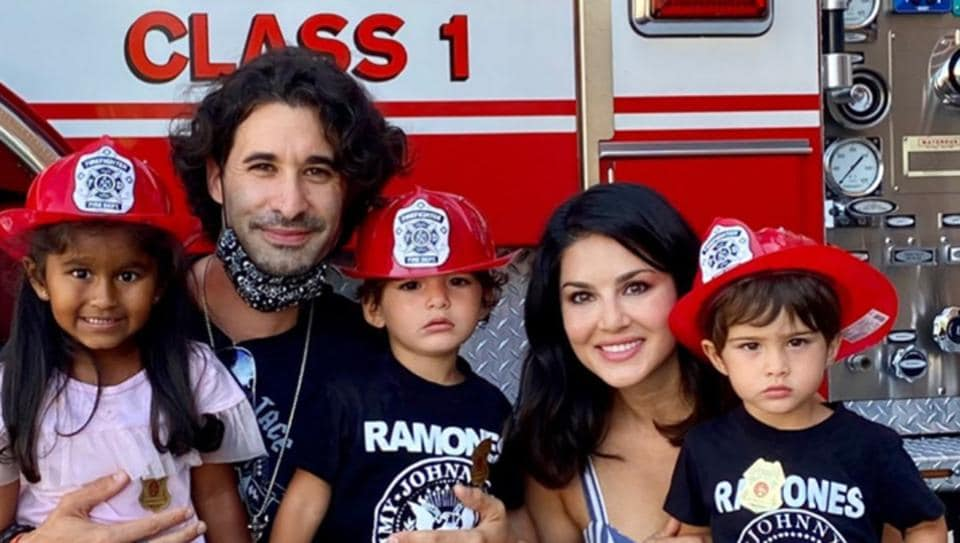 Sunny Leone takes kids Nisha, Asher and Noah for fire safety session with husband Daniel Weber. See pic – bollywood