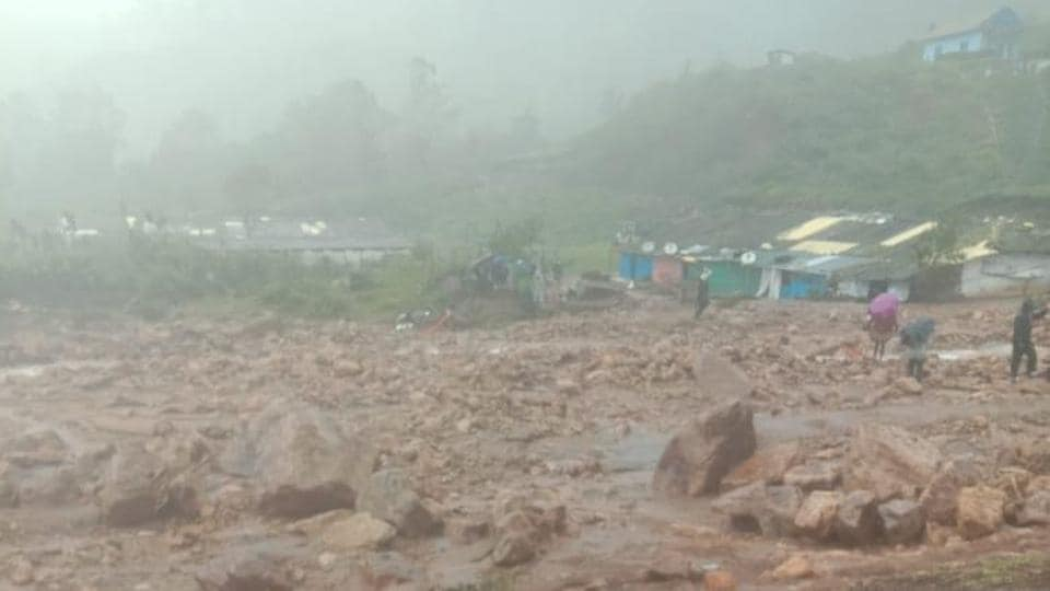 The area in Kerala which was affected by landslide on Friday morning.
