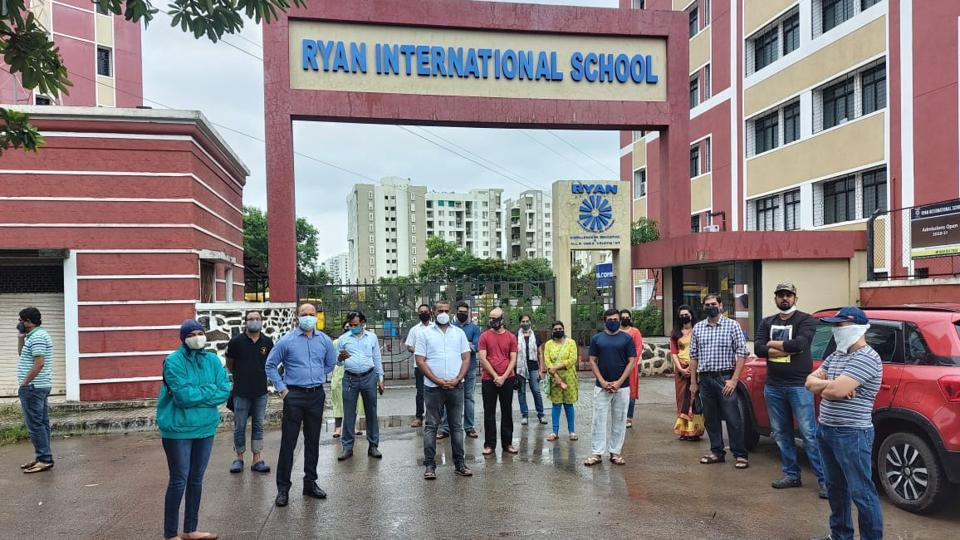 A group of parents held a protest outside the Ryan International School, Bavdhan, on Thursday.