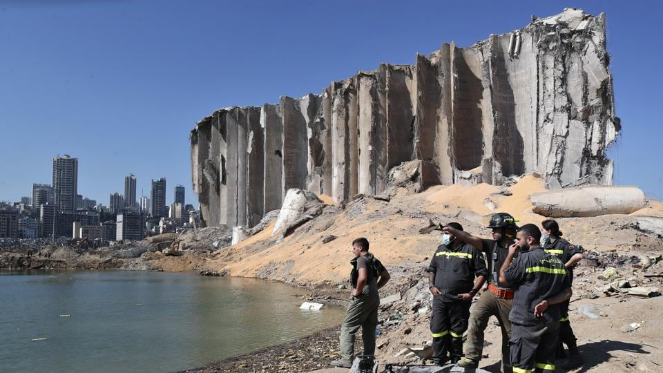 A rescue team surveys the site of this week's massive explosion in the port of Beirut, Lebanon.