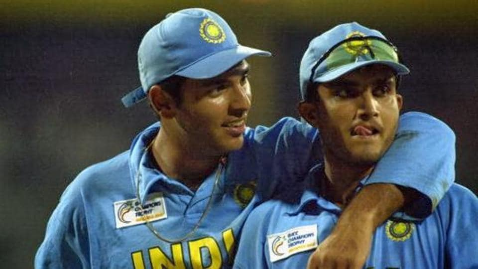 Yuvraj Singh and Sourav Ganguly of India celebrate victory after the ICC Champions Trophy semi-final match between India and South Africa held on September 25, 2002 at the R. Premadasa Stadium, in Colombo.