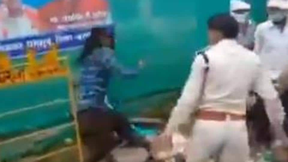 The 50-second clip showed a policeman is dragging a Sikh by his hair in public amid pushing and jostling.