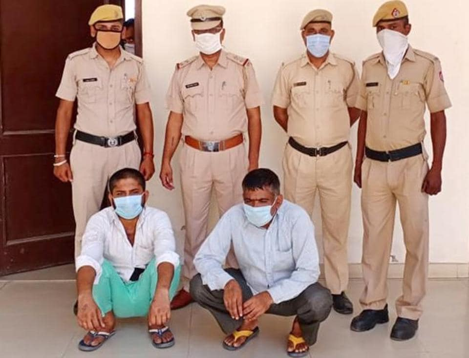 The accused in police custody at Mansa Devi Complex, Panchkula, on Saturday.
