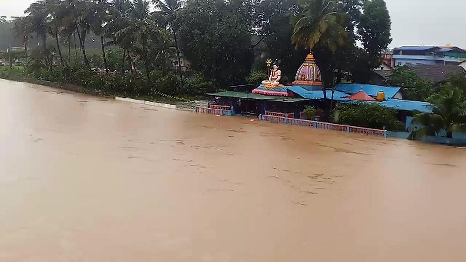 A temple submerged in water due to the overflowing of the Hemavathi river in Hassan, Karnataka, August 8, 2020.