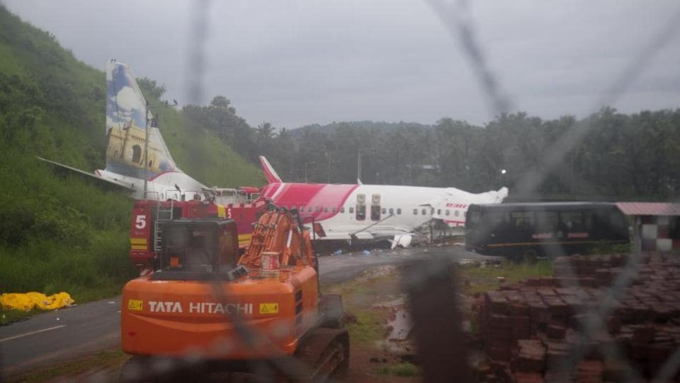 The Air India Express flight that skidded off a runway while landing at the airport in Kozhikode, Kerala.