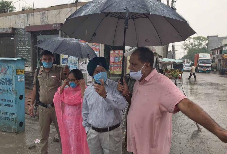 Mayor Balkar Sandhu inspecting Sherpur chowk with councillor Mamta Ashu and NHAI officials in Ludhiana on Saturday.