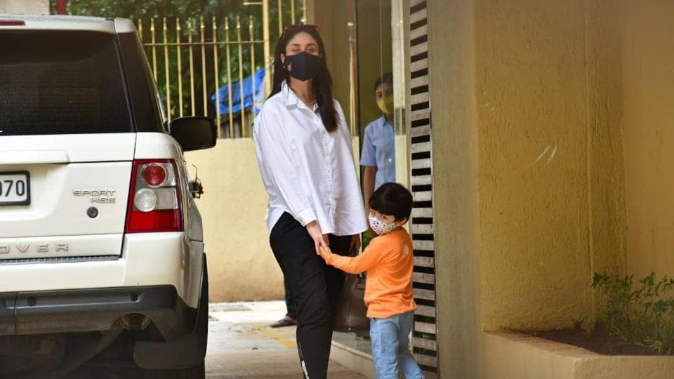 Kareena Kapoor and her son Taimur were seen outside her sister Karisma Kapoor's home on Sunday. (Varinder Chawla)